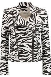 Balmain Zebra Print Stretch Denim Biker Jacket Black