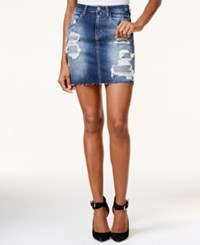 Guess Giselle Ripped Denim Mini Skirt Daiki