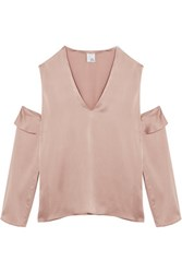 Iris And Ink Cutout Washed Silk Top Blush