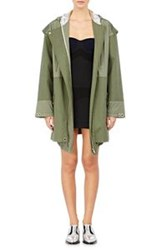 Paco Rabanne Mixed Fabric Hooded Parka Green