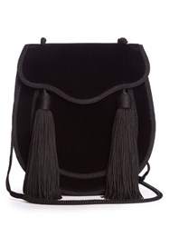 Saint Laurent Opium 2 Tassel Trim Velvet Cross Body Bag Black