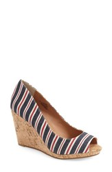 Women's Caslon 'Devin' Peep Toe Wedge Red White Navy Stripes