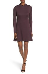 Matty M Women's Mock Neck Rib Knit Fit And Flare Dress Plum