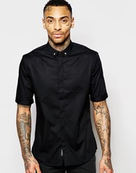 Religion Short Sleeve Shirt With Skull Collar Tips Black