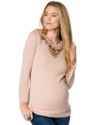 Design History Maternity Beaded Keyhole Sweater Blush Pink