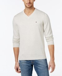 Tommy Hilfiger Men's Big And Tall Signature Solid V Neck Sweater Chili Pepp