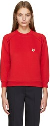 Maison Kitsune Red Fox Head Sweatshirt