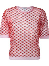 Carven Sheer Lace T Shirt Red