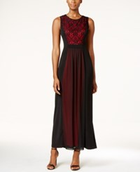 Connected Petite Lace Chiffon A Line Gown Black Red