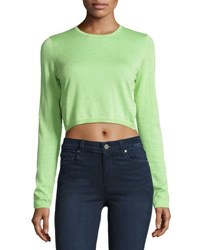 Neiman Marcus Cashmere Long Sleeve Crop Top Pastis