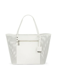 Kenneth Cole Dover Street Leather Perforated Tote White Silver