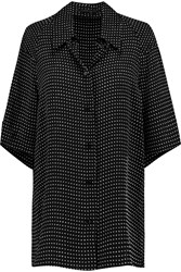 Agnona Polka Dot Silk Shirt Black