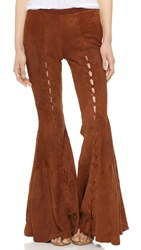 Free People Summer Lovin Suede Flare Pants Brown