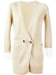 Brunello Cucinelli Double Breasted Cardigan Nude And Neutrals