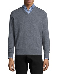 Neiman Marcus Cashmere V Neck Sweater Gray