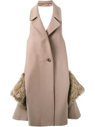 Chalayan Fur Pockets Long Vest Nude And Neutrals