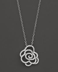 Bloomingdale's Diamond Flower Pendant In 14K White Gold .30 Ct. Tw. No Color