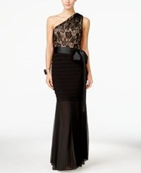Betsy And Adam B And A By Betsy And Adam Lace One Shoulder Mermaid Gown Black