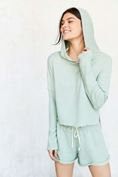 Out From Under Cropped Washed Hoodie Sweatshirt Green