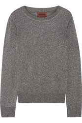 Missoni Metallic Crochet Knit Sweater Silver