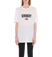 Givenchy Distressed Logo Print Cotton Jersey T Shirt White