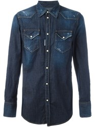 Dsquared2 Distressed Denim Shirt Blue