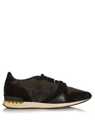 Burberry Field Low Top Suede And Mesh Trainers Green Multi