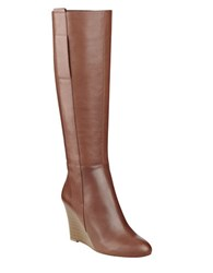 Nine West Orsella Leather Knee High Wedge Boots Cognac