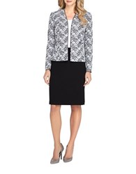Tahari By Arthur S. Levine Plus Floral Open Jacket Skirt Suit White Black