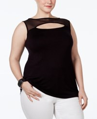 Inc International Concepts Plus Size Illusion Cutout Top Only At Macy's Deep Black