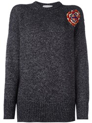 Giada Benincasa Embroidered Patch Knitted Jumper Grey