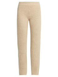 Ryan Roche Slim Leg Ribbed Knit Cashmere Trousers Light Beige