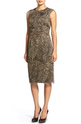 Pink Tartan Leopard Print Ruched Waist Organza Dress Chocolate Tan