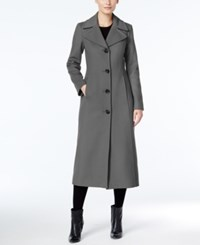 Anne Klein Petite Wool Cashmere Blend Notch Collar Maxi Walker Coat Charcoal