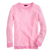 J.Crew Collection Cashmere Bird's Eye Sweater Neon Pink Snow
