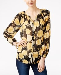 Charter Club Rose Print Button Front Blouse Only At Macy's Honey Glaze Combo