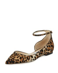 Jimmy Choo Lucy Leopard Print Calf Hair Ankle Strap Flat Natural