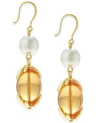 Charter Club Gold Tone Imitation Pearl And Colored Bead Drop Earrings Only At Macy's Peach