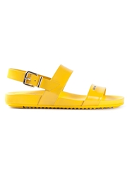 Fendi Strappy Flat Sandals Yellow And Orange