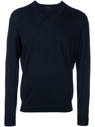 Z Zegna V Neck Jumper Blue