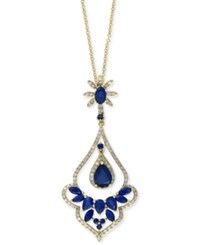 Effy Collection Velvet Bleu By Effy Manufactured Diffused Sapphire 1 5 8 Ct. T.W. And Diamond 3 8 Ct. T.W. Pear Drop Pendant Necklace In 14K Gold Blue
