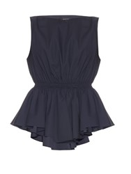 Giles Peplum Waist Cotton Poplin Top Navy