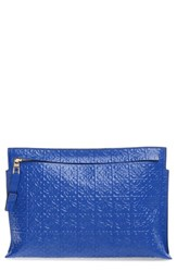 Loewe Large Logo Embossed Calfskin Pouch Blue Electric Blue