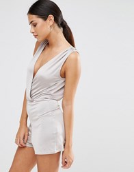 Oh My Love Wrap Playsuit Silver Slinky