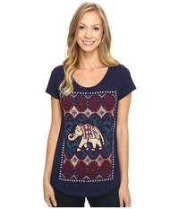 Lucky Brand Dotted Elephant Tee Astral Aura Women's T Shirt Blue