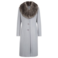 Kaliko Single Breasted Faux Fur Collar Coat Mid Grey