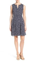 Women's Halogen Pleated Fit And Flare Dress Navy Pink Fragment Print