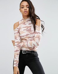 Asos Top With Cold Shoulder And High Neck In Camo Print Multi