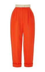 Delpozo Red Flame Cropped Cotton Trousers