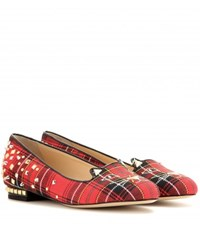 Charlotte Olympia Punk Kitty Tartan Slippers Red